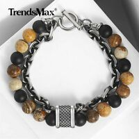 14mm Two Layers Mens Natural Picture Stone Beaded Bracelet Stainless Steel Chain