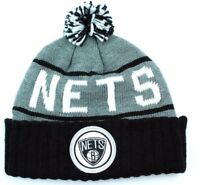 Brooklyn Nets Mitchell & Ness NBA Basketball Team Logo Pom Pom Knit Hat Beanie