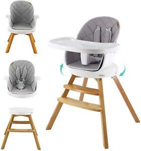 YOLEO 4 in 1 Children Wooden High Chair & Table Set Baby Feeding Seat Highchair