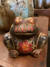 Mexican Clay Pottery - Small Clay Frog Planter (A) Free Shipping