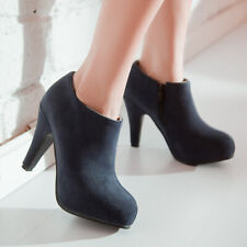 Women Winter Ankle Boots Platform Round Toe Chunky Heel Booties Shoes US 6 Blue