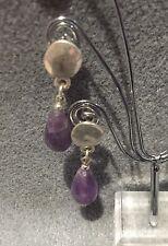 Pair Amethyst Gemstone Teardrop Handmade Drop Stud  Earrings