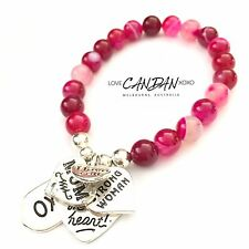 I Love You Mum Gift Pink Agate Bracelet Strong Woman Heart Xoxo Charms