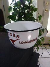 Vintage enamelware chamber pot, white & black camp/cabin potty Texas Longhorns
