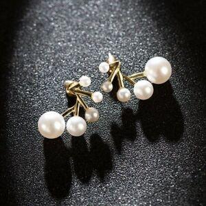 2021 Fashion Gold Flower Pearl Earrings Ear Stud Women Party Charm Jewelry Gifts