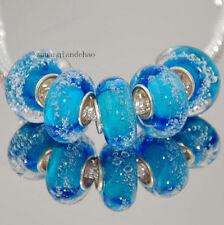 5pcs MURANO Lampwork charm Beads fit 925 silver European Bracelet Chain a74
