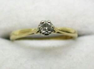 1960's Vintage 18 carat Gold Small Diamond Solitaire Ring Size M
