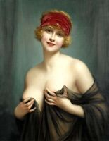 Busty half naked woman portrait Oil Painting Giclee Art Printed on canvas L2065