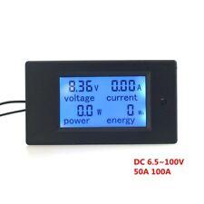 Digital Voltmeter Ammeter Power Energy Current Detector DC100V100A50A LCD 4 in 1