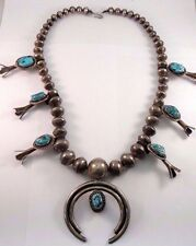 Navajo Old Pawn Sterling Silver Handmade Sleeping Beauty Squash Blossom Necklace