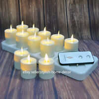 Luminara Rechargeable Flickering Flameless LED Tea Light with Timer for Birthday