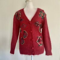 Vintage Susan Bristol Small Mohair Sweater Fuzzy Embroidered Red Long Sleeves