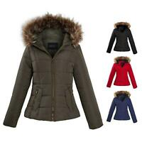 Shelikes Ladies Padded Faux Fur Trim Hood Hooded Jacket Winter Coat Size 6 to 16