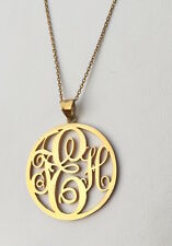 Handmade Personalised Round Monogram Necklace-Name Necklace,18K Gold Plated