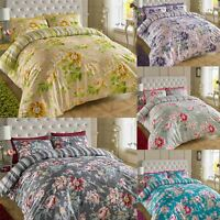 200TC Cotton Floral Reversible Print Bedding Set Duvet Quilt Cover Double King