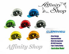 3x Clearview Hard Hat Clear Helmet Coloured Head Protection Cap Jobsite Approved