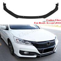 Carbon Fiber Front Bumper Lip Protection Cover Trim 3pcs for Honda Accord