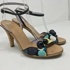 MARC JACOBS size 8.5 Polka Dot Retro Sandals Cork Heels Made in Italy Fun!