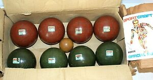 Vintage SPORTCRAFT BOCCE SET, Complete in Box, 8 Balls, 1 Jack, Made in Italy