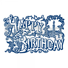 Brand New Tattered Lace Vintage Happy Birthday Greeting Cutting die ETL413 SALE