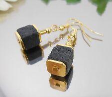 Ohrhänger Lava Würfel 8 mm + Hämatit Röhrchen goldfarbig mit Haken