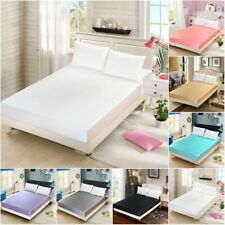 Satin Silk Bed Fitted Sheet Bedding Sheets Deep Pocket Smooth Multiple colors
