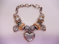 Brighton Charm Bracelet Love Theme Crystal Hearts Gold Silver B384