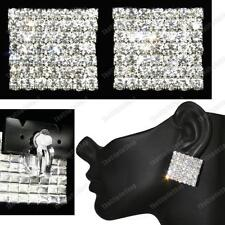 "1""BIG 2.5cm SPARKLY CLIPS crystal SQUARE FASHION EARRINGS silver rhinestone"