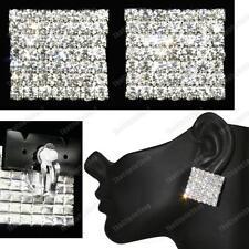 """1 """"BIG 2,5 cm Luccicante clip cristallo quadrato FASHION ORECCHINI ARGENTO CON STRASS"""