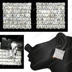 "1""BIG 2.5cm SPARKLY CLIPS crystal SQUARE FASHION EARRINGS silver rhinestone"