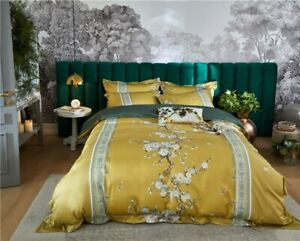 Vintage Plum Blossom Tree Bedding Set Egyptian Cotton Floral  Cover Bed Sheet