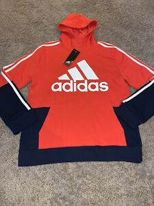 NWT Boy's Adidas Orange/Red - Navy Fleece Lined Hoodie Sweatshirt Youth Small 8