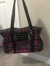 Coach Poppy Tartan Signature Glam Black/Pink Plaid Tote Sateen Handbag Purse