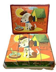 Vintage Wooden Picture Block Puzzle Boxed Czech 1950s Animals
