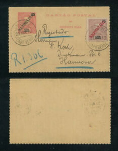 Portugal Cape Verde Cabo Verde 1912 Stationery card used to Germany, D. Carlos