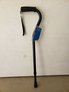 Carex Aluminum Black Offset Cane with Soft Cushioned Handle - Adjustable