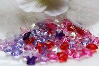50 mix ACRYL 3D Sterne transparent  facettiert Perlen Beads 13x13x8mm