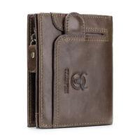 Mens Genuine Leather Trifold Wallet Women RFID Blocking Credit Card Holder Purse