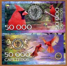 Colombia 50000 Cafeteros  El Club De La Moneda 2016 Vermilion Cardinal UNC