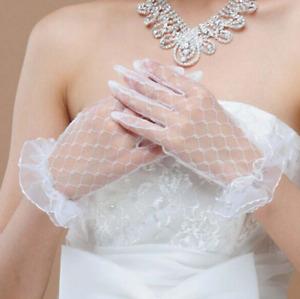Brauthandschuhe für die Hochzeit Spitze Braut Handschuhe Weiß Blumenmotiv P346