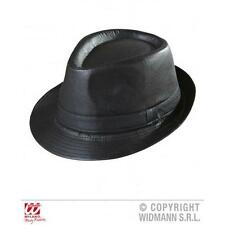 PELLE NERA LOOK Fedora Hat Cappello Gangster Bugsy Malone FANCY DRESS