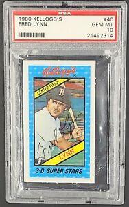1980 Kellogg's 3D #40 Fred Lynn Red Sox PSA 10 Gem Mint POP 28 *PSA Set Break*