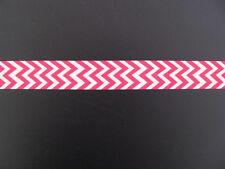 "chevron pink white grosgrain ribbon 7/8"" per 1 mtr hair scrapbooking card making"