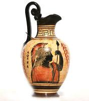 Ceramic Vase Pot Pottery Greek black-figure Painting Goddess Athena Handmade