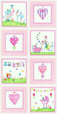 2.6 Yards Quilt Cotton Fabric - Red Rooster Bundle of Pink Stork Baby Panel