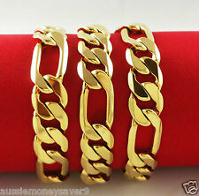 18K Gold Filled Mens FIGARO curb link chain necklace UNISEX FREE GIFT BAG