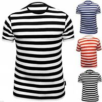 Mens T Shirt Striped Top Red Black Blue and White Dress Crew Neck Short Sleeve