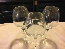 MIKASA Smoke CRYSTAL 3 Wine Glasses Excellent Condition