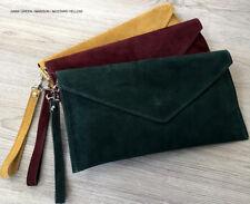 Dark Green Wedding Clutch Bag Evening Bag Over Size Envelope Suede Made in Italy