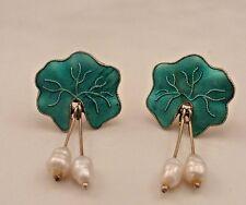 Vintage Sterling Enamel PEARL Dangle Earrings.